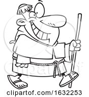 Poster, Art Print Of Cartoon Lineart Happy Chubby Friar Walking