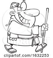 02/27/2019 - Cartoon Outline Happy Chubby Friar Walking