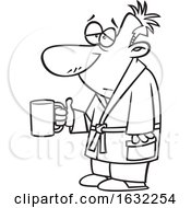 Poster, Art Print Of Cartoon Lineart Sick Man Holding A Mug