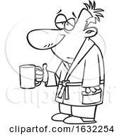 Cartoon Outline Sick Man Holding A Mug