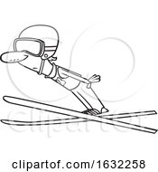 Cartoon Outline Male Ski Jumper by toonaday #COLLC1632258-0008