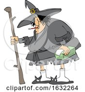 Sick Chubby Witch With A Thermometer In Her Mouth And Tissues In Hand