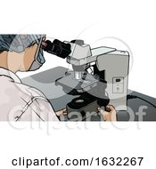 Scientist Or Doctor Looking At A Slide On A Microscope by dero
