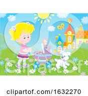 Poster, Art Print Of Blond Girl Pushing A Baby Stoller Outside
