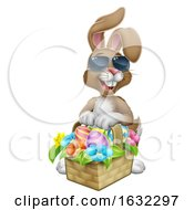 Poster, Art Print Of Easter Bunny In Sunglasses Eggs Hunt Cartoon