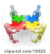 Team Of Diverse People Holding Up Connected Pieces To A Colorful Puzzle, Symbolizing Excellent Teamwork, Success And Link Exchanging