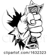Fist Holding Cash Money Breaking Background