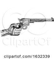 Hand Holding Western Pistol Gun Revolver by AtStockIllustration