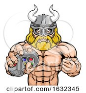 Viking Gamer Gladiator Warrior Controller Mascot by AtStockIllustration