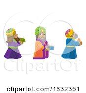 Wise Men Christmas Nativity Scene Cartoon by AtStockIllustration