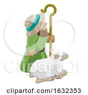 Poster, Art Print Of Cartoon Traditional Shepherd And Sheep Or Lamb