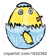 Poster, Art Print Of Cute Easter Chick Childs Drawing