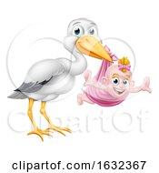 Stork Cartoon Pregnancy Myth Bird With Baby Girl