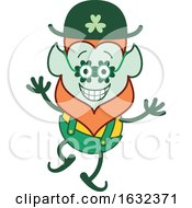 St Patricks Day Leprechaun Wearing Clover Glasses by Zooco