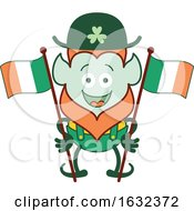 Poster, Art Print Of St Patricks Day Leprechaun With Irish Flags