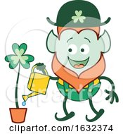 St Patricks Day Leprechaun Watering A Clover