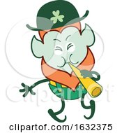 St Patricks Day Leprechaun Playing A Cornet