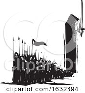 Poster, Art Print Of Black And White Army Emerging From The Cloak Of A King