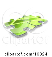 Two Green Puzzle Pieces Connected Over A White Background Symbolizing Interlinking For Seo Website Marketing And Teamwork by 3poD