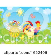 Poster, Art Print Of Rooster Pulling A Cart With Easter Eggs