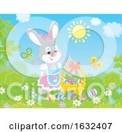 Female Bunny Rabbit With A Easter Eggs On A Sunny Day