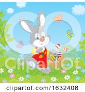 Bunny Rabbit With An Easter Basket On A Sunny Day