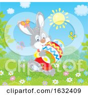 Bunny Rabbit Carrying A Giant Easter Egg On A Sunny Day