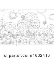 Poster, Art Print Of Black And White Cottage On A Spring Day