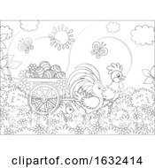 Poster, Art Print Of Black And White Rooster Pulling A Cart With Easter Eggs