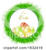 Happy Easter Greeting With Eggs In A Grass Frame