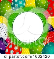 Poster, Art Print Of Easter Grass Circular Border On Decorated Eggs