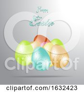 Poster, Art Print Of Easter 3d Eggs And Decorative Text Background