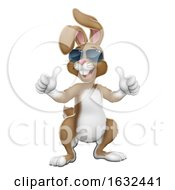 Easter Bunny Cool Rabbit Cartoon Giving Thumbs Up