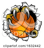 Poster, Art Print Of Basketball Ball Eagle Claw Tearing Background