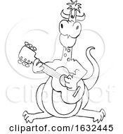 Cartoon Black And White Dragon Playing A Guitar