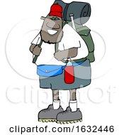 Cartoon Happy Black Male Hiker With Gear