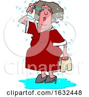 Cartoon White Woman Spraying Herself Down During A Hot Flash