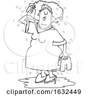 Cartoon Black And White Woman Spraying Herself Down During A Hot Flash