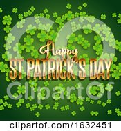 St Patricks Day Background With Shamrock And Metallic Gold Text