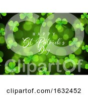 St Patricks Day Background With Shamrock On Bokeh Lights