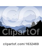 Landscape Background With Mountains And Flock Of Birds