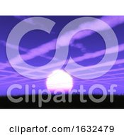 3D Purple Sunset Landscape With Cloud Trails In The Sky
