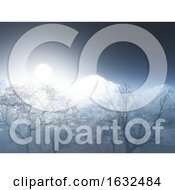Poster, Art Print Of 3d Landscape With Snowy Mountain