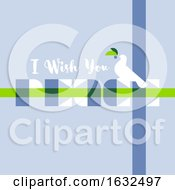 Greeting Card With I Wish You Peace Lettering And Elegant White Bird