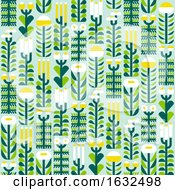 Seamless Pattern With Wild Herbs And Flowers In Flat Style