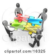 Team Of Four Black People Holding Up Connected Pieces To A Colorful Puzzle Symbolizing Excellent Teamwork Success And Link Exchanging Clipart Illustration Graphic