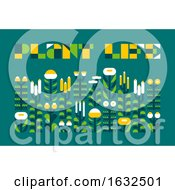 Poster, Art Print Of Poster With Plant Life Lettering And Wild Herbs In Flat Style