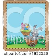 Bunny Rabbit Holding An Easter Basket In A Wheelbarrow