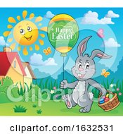 Poster, Art Print Of Bunny Rabbit With An Easter Balloon