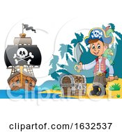 03/05/2019 - Pirate On A Beach With Treasure And Ship In The Distance